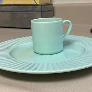 Italian made Pagnossin mint color plates & cups